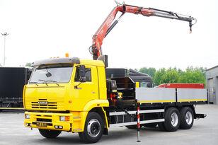 ciężarówka burtowa KAMAZ 65117 , 6x4 , Crane Fassi 95 , rotator , box 6m