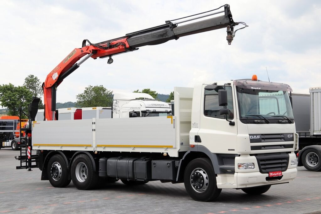 ciężarówka burtowa DAF CF 85.360 / 6X4 / PLATFORMA + MACARA/ TACHOG