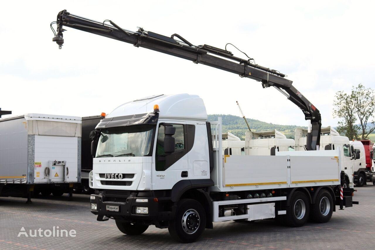 ciężarówka burtowa IVECO STRALIS 450 / 6X4 / PLATFORMA + MACARA HIAB 166 / RADIO COMMANDE