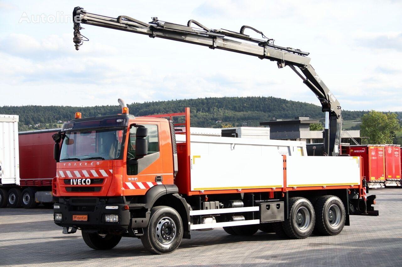 ciężarówka burtowa IVECO TRAKKER 330 / 6X4 / MACARA HIAB 144 / RADIO COMMANDE / ROTATOR /