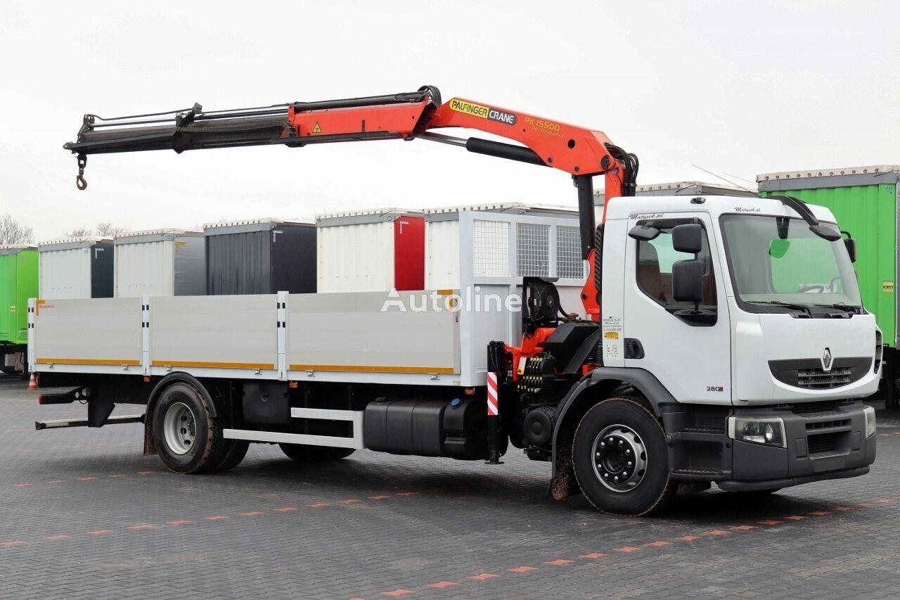 ciężarówka burtowa RENAULT PREMIUM 280 DXI / 4X2 / MACARA PALFINGER PK 15500 / L - 7,5M /