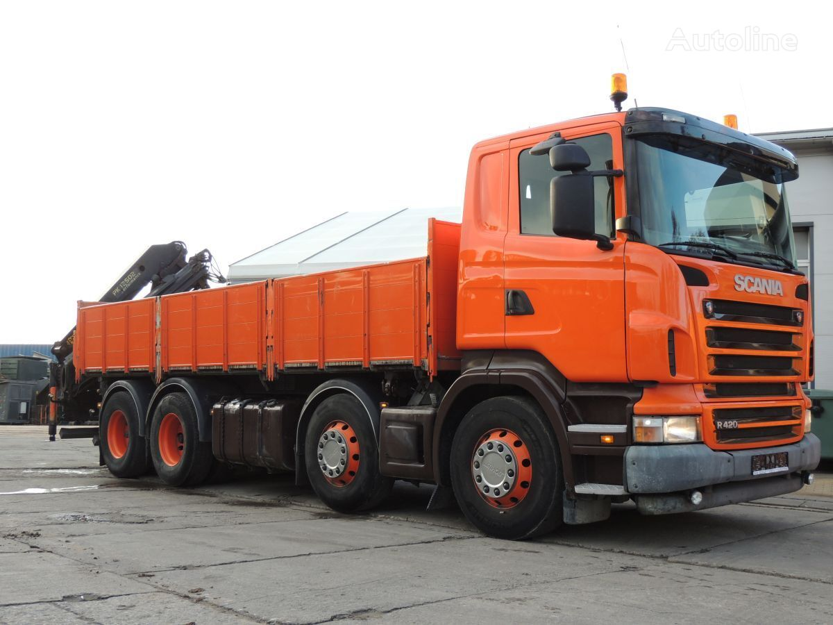 ciężarówka burtowa SCANIA R420 Wywrotka / Żuraw PALFINGER PK12502 , 2006rok , 420KM