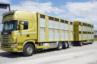 ciężarówka do przewozu koni SCANIA R164 V8, 6x2, 2 hydraulic decks, 70m2 , live stock + przyczepa do przewozu zwierząt
