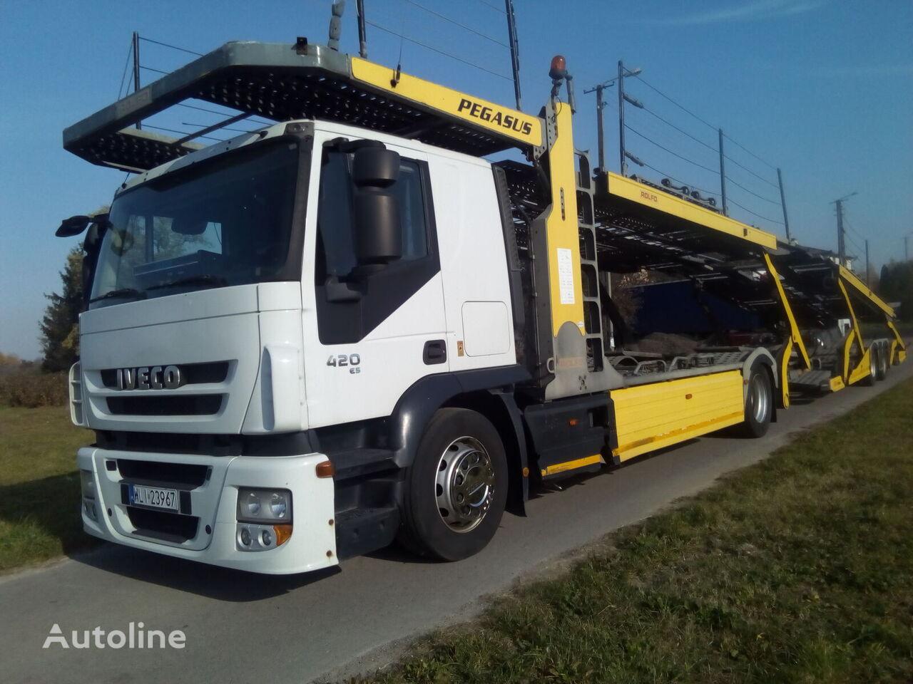 ciężarówka do przewozu samochodów IVECO LORA + przyczepa do przewozu samochodów