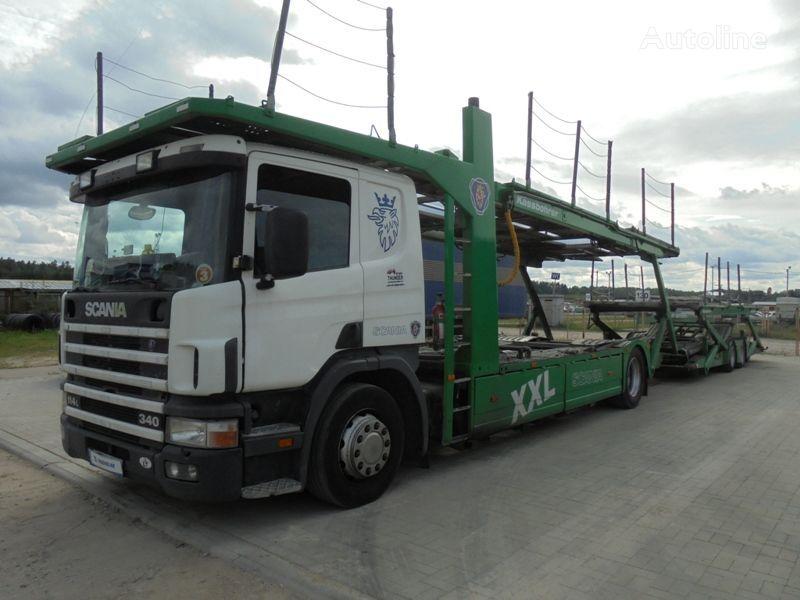 ciężarówka do przewozu samochodów SCANIA P 114 LB + przyczepa do przewozu samochodów