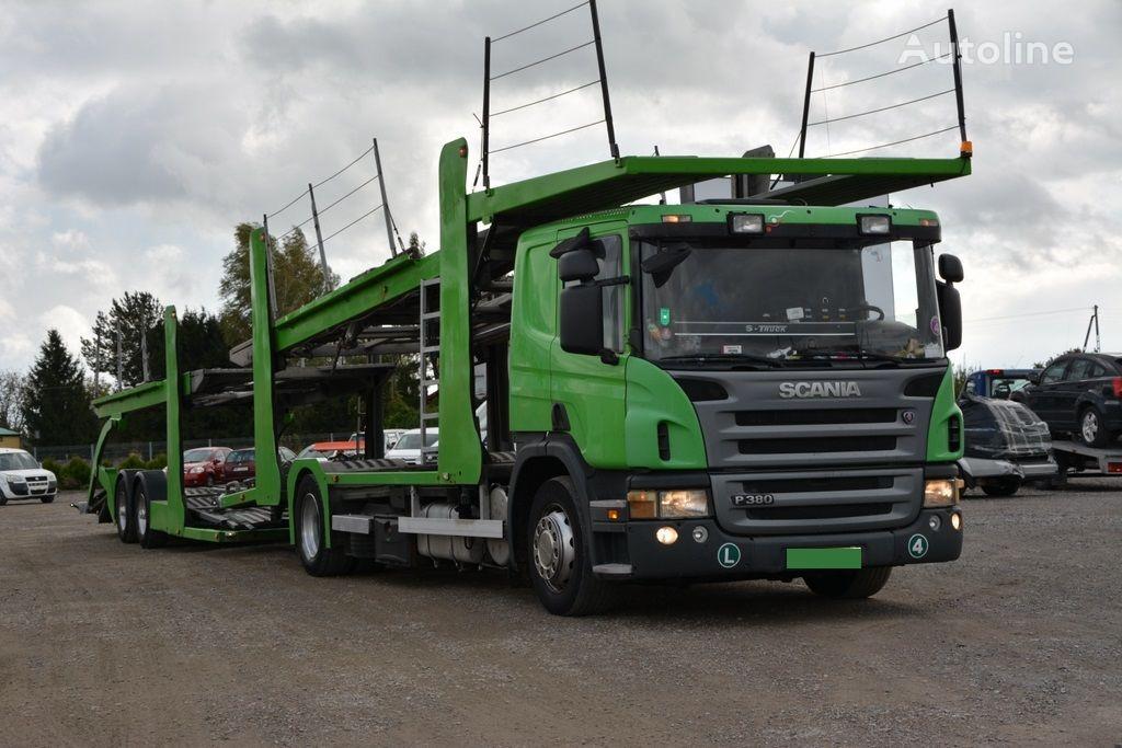 ciężarówka do przewozu samochodów SCANIA P 380 + przyczepa do przewozu samochodów