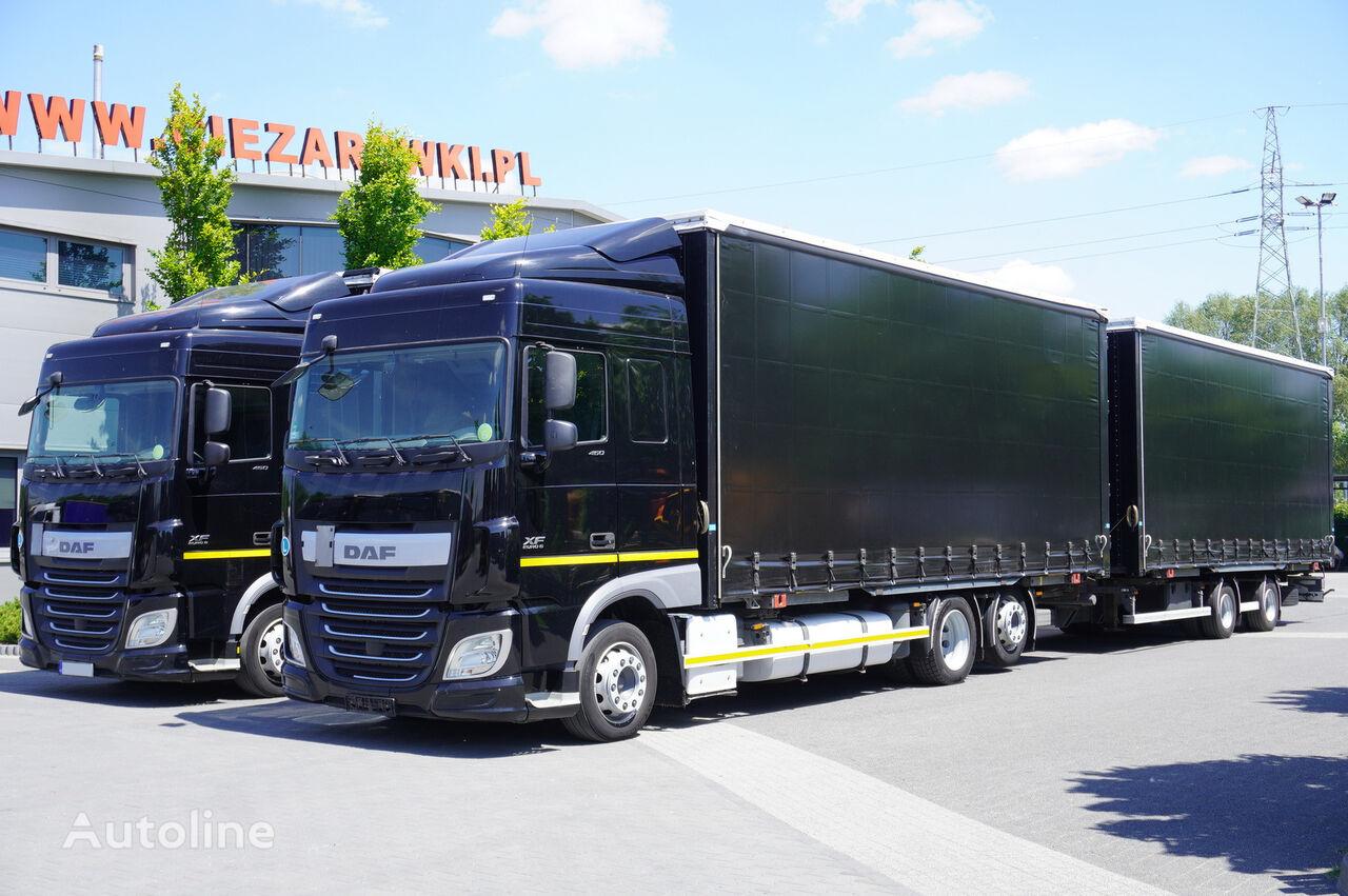 ciężarówka firanka DAF XF 460 , SC , E6 , BDF , MEGA , JUMBO 120m3 , 38 EPAL + przyczepa firanka