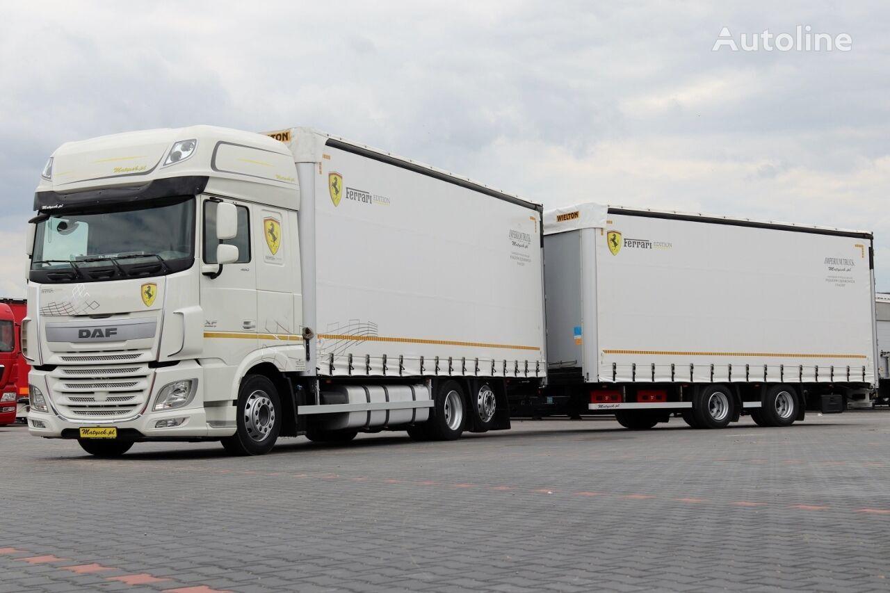 ciężarówka firanka DAF XF 460 / SSC / EURO 6 / CAMION + REMORCÃ 120 M3 / ACC + przyczepa firanka