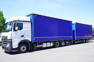 ciężarówka firanka MERCEDES-BENZ Actros 2542 , E6 , 6x2 , JUMBO BDF SET , 38 EPAL + przyczepa firanka