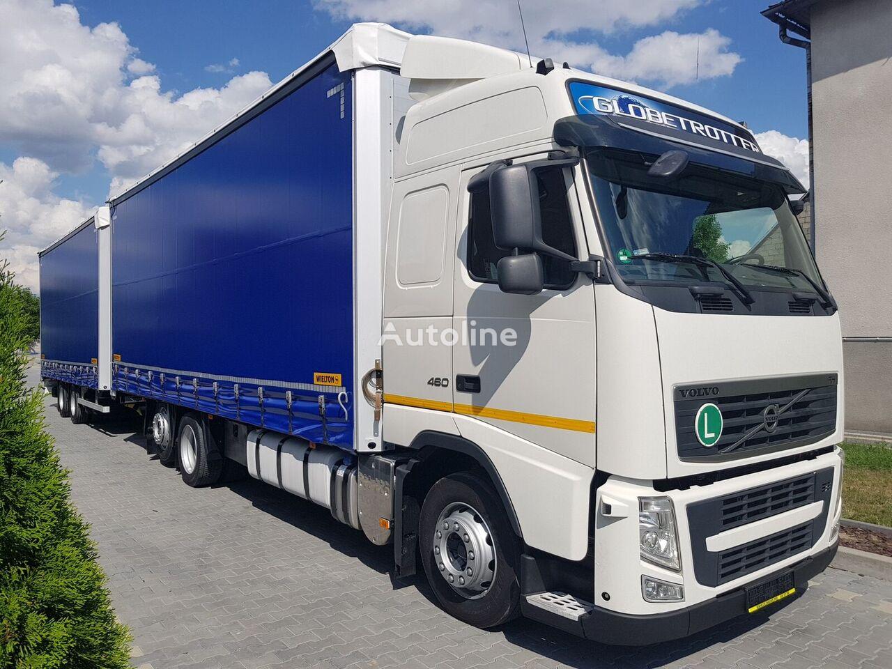 ciężarówka firanka VOLVO FH 13.460 ZESTAW TANDEM + przyczepa firanka