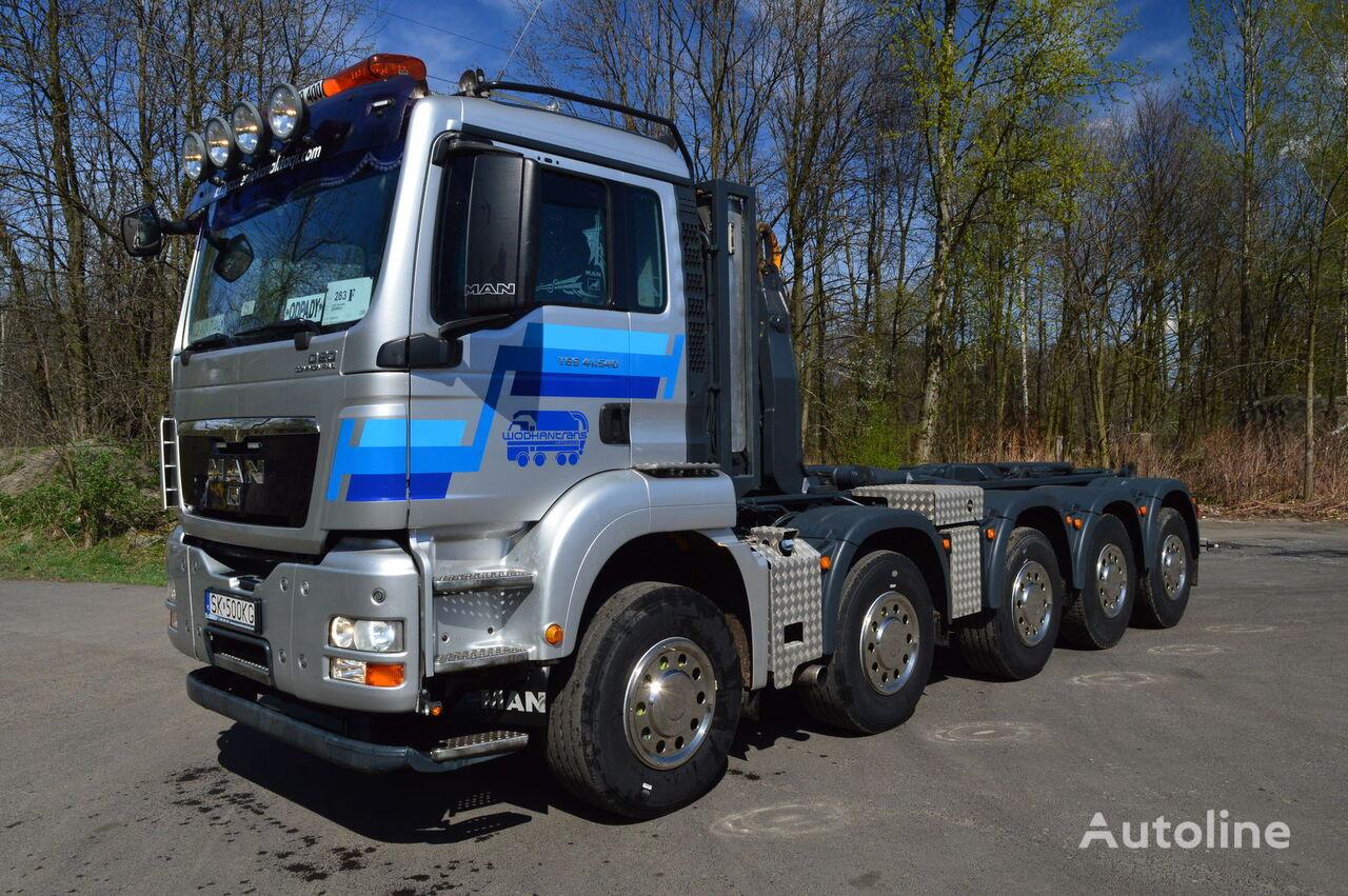 ciężarówka hakowiec MAN TGS 41.480 MOSER MH2 10X4 kontener 7m