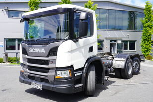 ciężarówka podwozie SCANIA P410 , E6 , 6X2 , chassis 6m , PTO , LOW CAB , manual , retarder