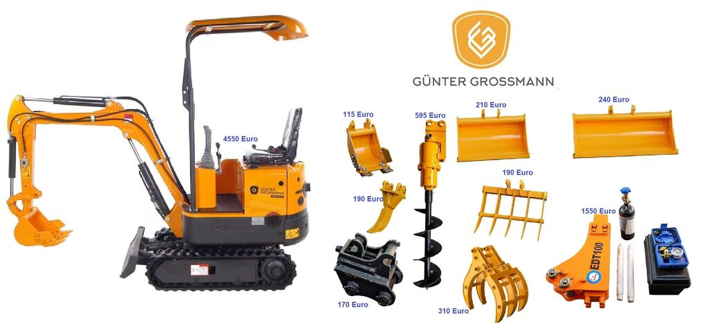 nowa minikoparka Günter Grossmann  GG800 minikoparka + Akcesoria - Mini koparka